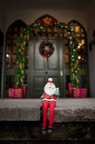 Santa On Our Front Steps