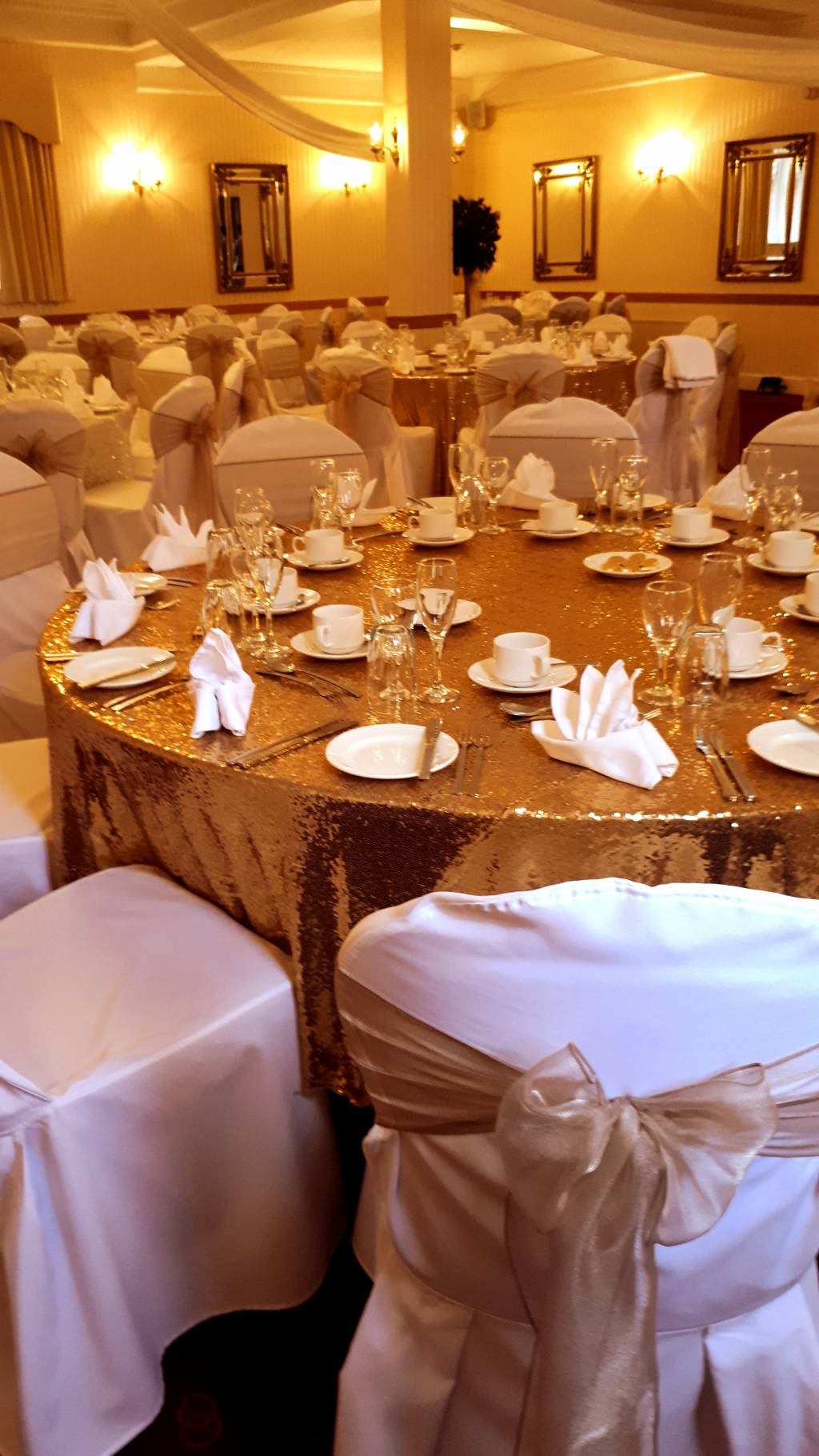 Image of golden sequin tablecloth