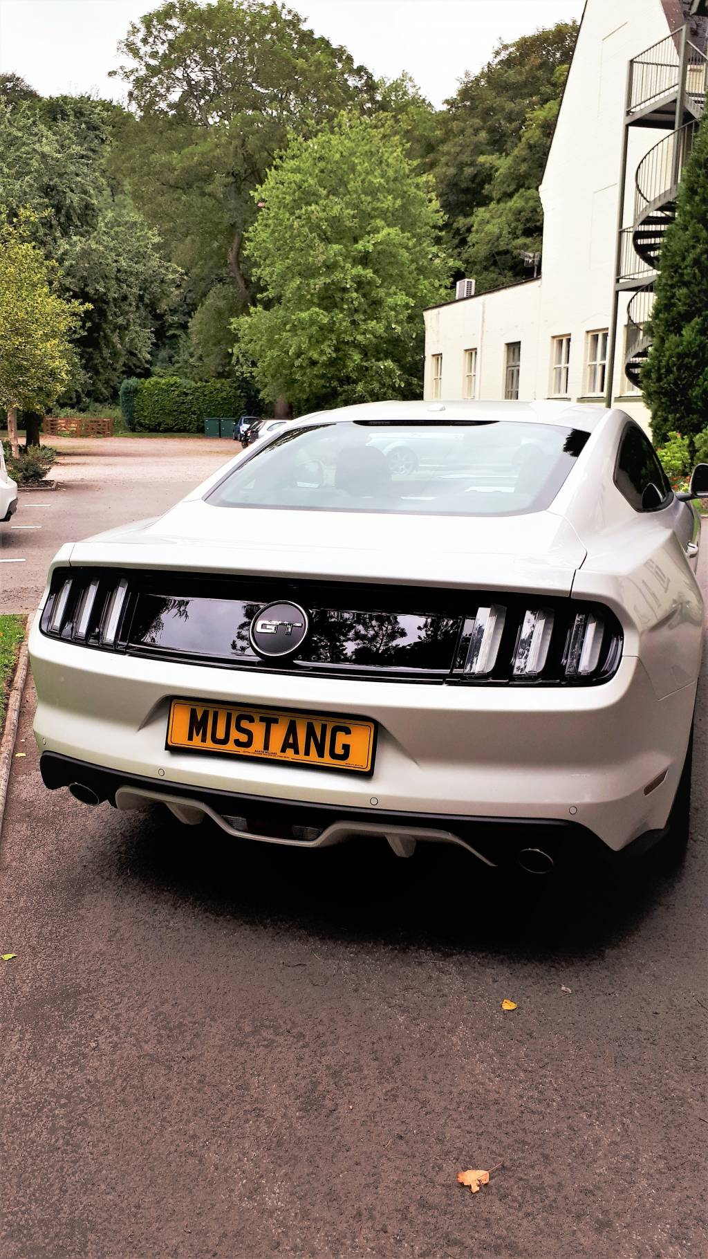 Image of 2018 white Ford Mustang in the hotel grounds