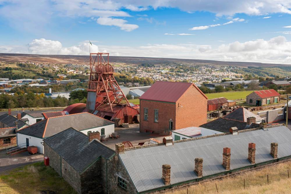 View overlooking the Big Pit Museum and the surrounding countryside. © Crown copyright 2018 (Visit Wales)