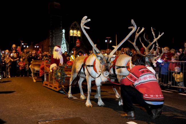 Usk Town Council Reindeer Parade 2017, part of the Usk Christmas Festival. © Usk Town Council